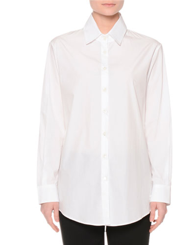 Long-Sleeve Button-Front Blouse, White