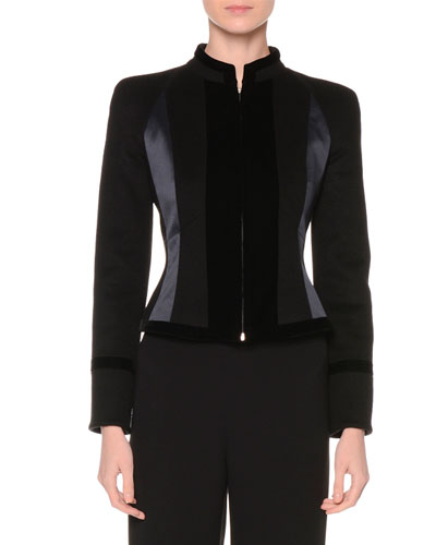 Zip-Front Fitted Combo Jacket, Black