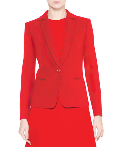Notch-Collar One-Button Jacket, Red