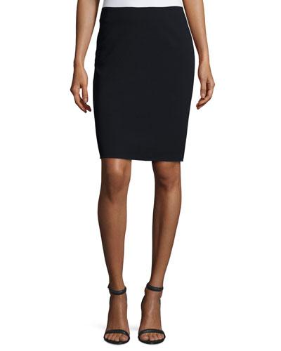 Classic Wool-Blend Pencil Skirt, Navy Blue