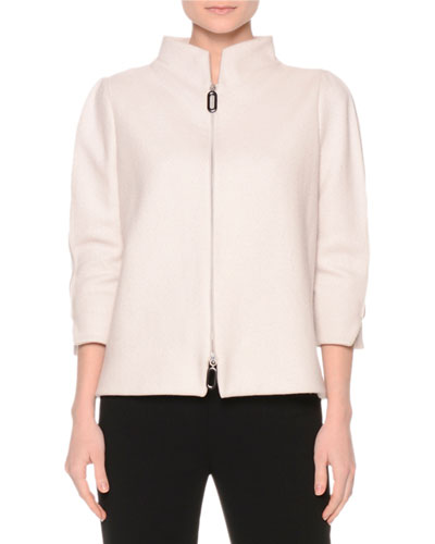 3/4-Sleeve Zip-Front Jacket, Fog