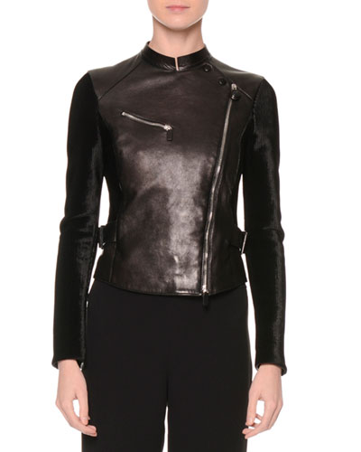 Asymmetric Zip-Front Combo Jacket, Black