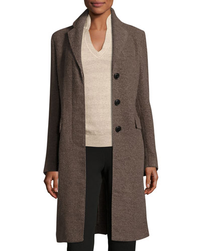 Notched-Collar Long Coat, Camel Brown