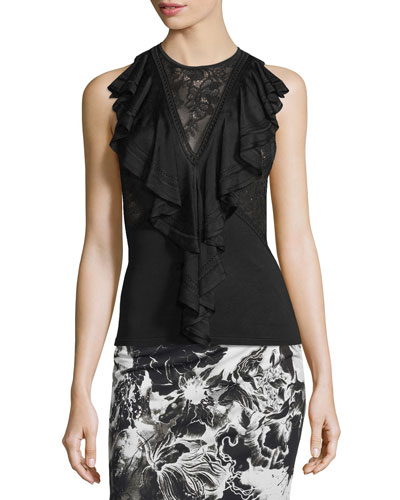 Sleeveless Pointelle-Trim Ruffled Top