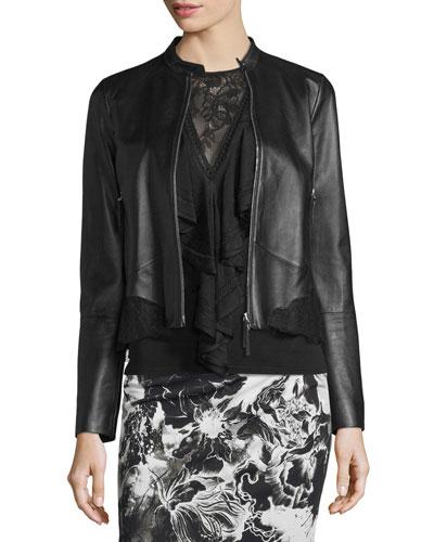 Lace-Trim Zip-Up Leather Jacket, Black