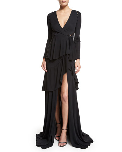 Long-Sleeve Tiered High-Slit Gown, Black