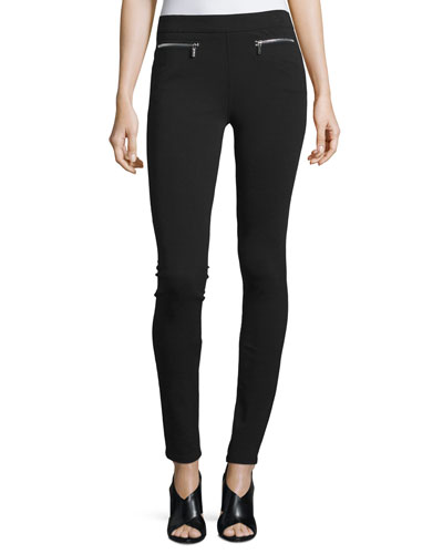 Mid-Rise Jersey Leggings, Black