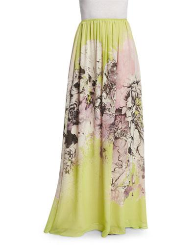 Kimono Floral-Print Long Skirt, Yellow/Pink