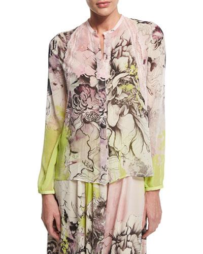 Kimono Floral-Print Button-Front Blouse, Yellow/Pink