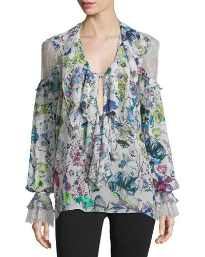 Lace-Inset Floral-Print Blouse, White/Multi