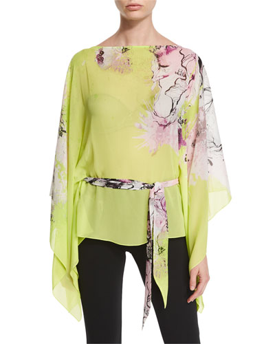 Belted Floral Caftan/Kimono Top