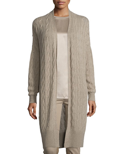 Cable-Knit Cashmere Long Cardigan, Taupe