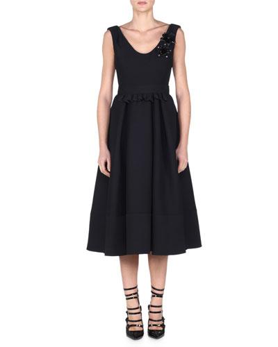 Sleeveless Tea-Length Dress W/Floral Appliqué, Black