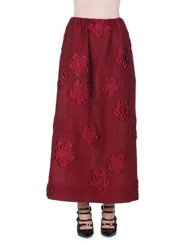 Floral Gauffre A-Line Maxi Skirt, Marrakech Red