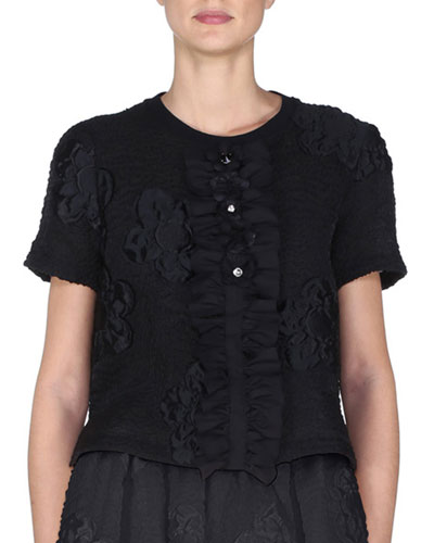 Short-Sleeve Floral-Gauffre Top, Black