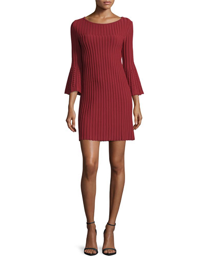 Bell-Sleeve Ribbed Dress, Marrakech Red