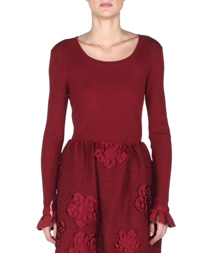 Ruffle-Cuff Long-Sleeve Top, Marrakech Red