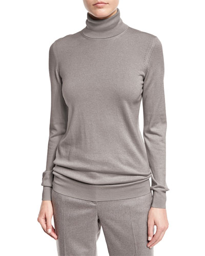Long-Sleeve Turtleneck Cashmere Sweater, Silver Myrtle