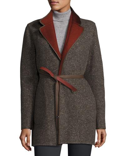 Barnet Reversible Tweed Coat, Oxford/Karkadé Red