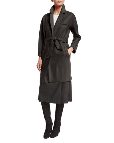 Ewan Belted Cashmere Coat, Charcoal Melange