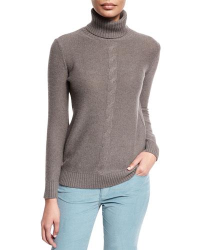 Long-Sleeve Turtleneck Cashmere Sweater, Silver Myrtle Melange