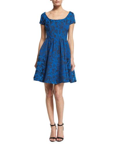 Jacquard Floral-Print Cocktail Dress, Royal Blue