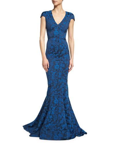 Cap-Sleeve Floral-Print Gown, Royal Blue