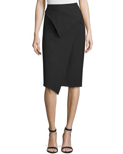 High-Waist Faux-Wrap Pencil Skirt, Black