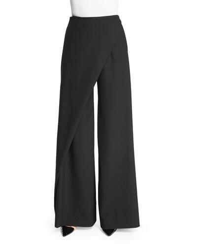 Draped-Front Wide-Leg Pants, Black