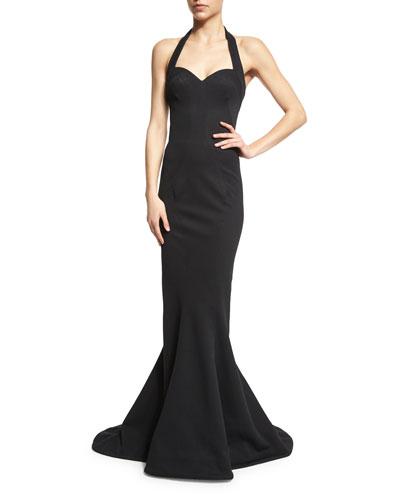Halter-Neck Mermaid Gown, Black