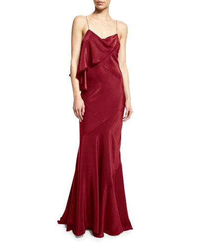 Sleeveless Draped-Ruffle Gown, Red