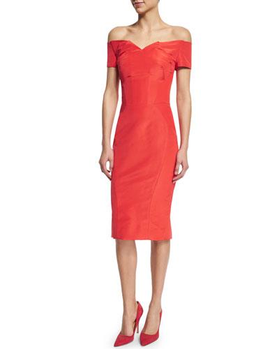 Off-The-Shoulder Cocktail Dress, Coral