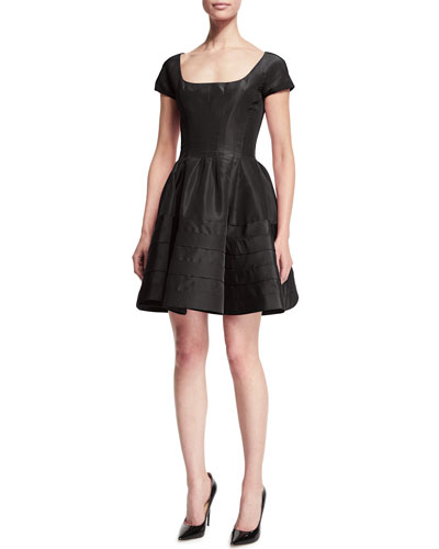 Short-Sleeve Fit-&-Flare Cocktail Dress, Midnight