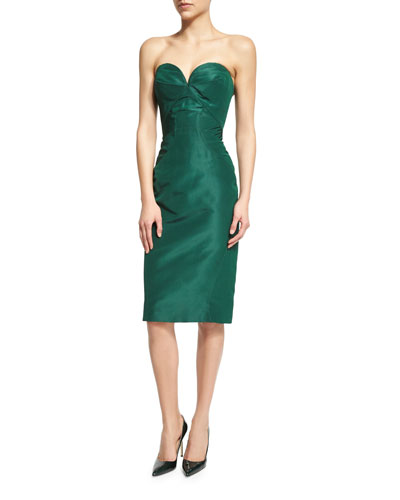 Strapless Sweetheart-Neck Cocktail Dress, Forest Green