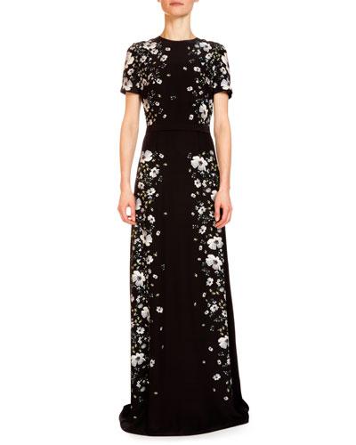Samira Rose-Hip Printed Gown, Black/White