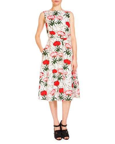 Maia Floral-Print Midi Dress, White/Red