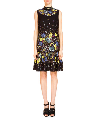 Nena Lily-Print Flounce-Hem Dress, Black/Multi