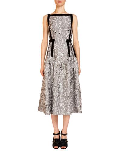 Adelle Bateau-Neck Midi Dress, Ecru/Gray