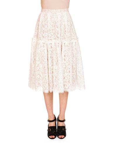 Leslie Floral-Lace Midi Length Skirt, Ecru