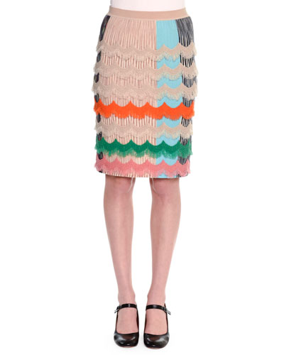 Ruffled Zigzag Pencil Skirt, Beige/Multi
