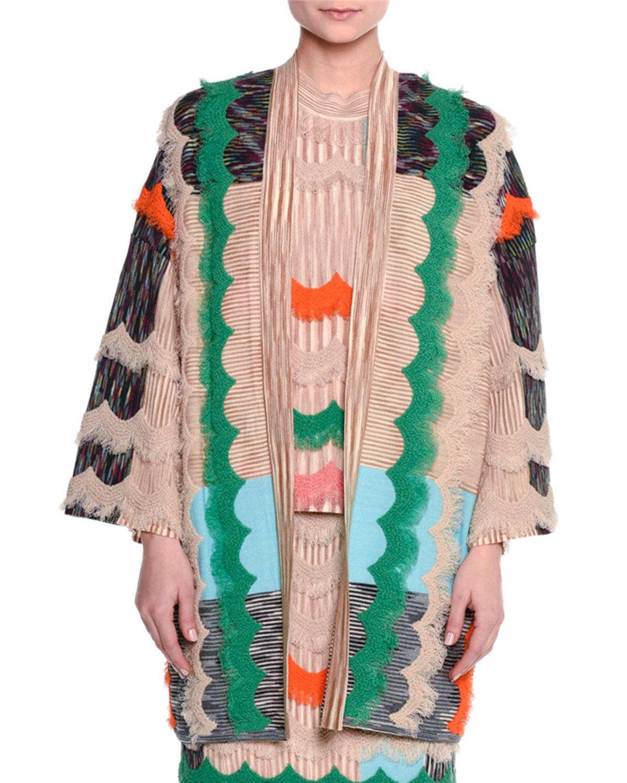 Ruffled Zigzag Open-Front Cardigan, Beige/Multi
