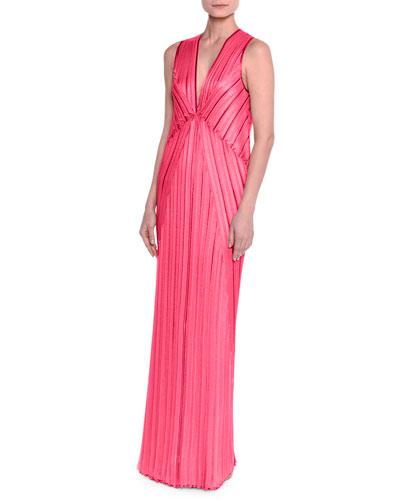 Sleeveless V-Neck Pleated Knit Gown, Fuchsia