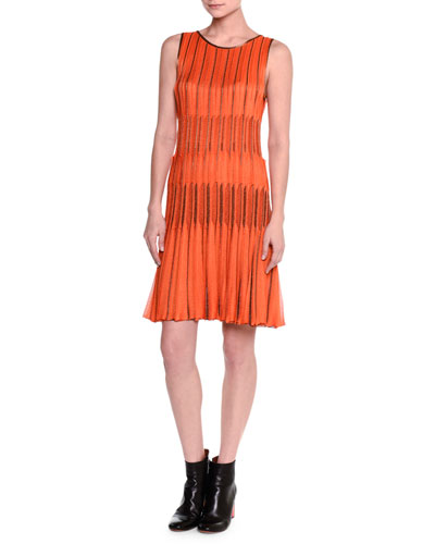 Sleeveless Metallic-Trim Plisse Dress, Orange