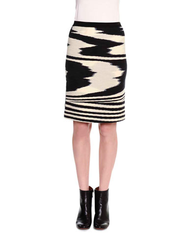 Printed Pencil Above-Knee Skirt, Black/White