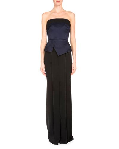 Devey Bustier Column Gown, Navy/Black