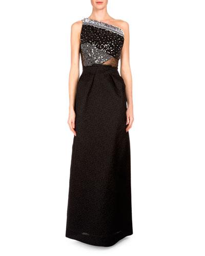 One-Shoulder Embellished Gown, Black