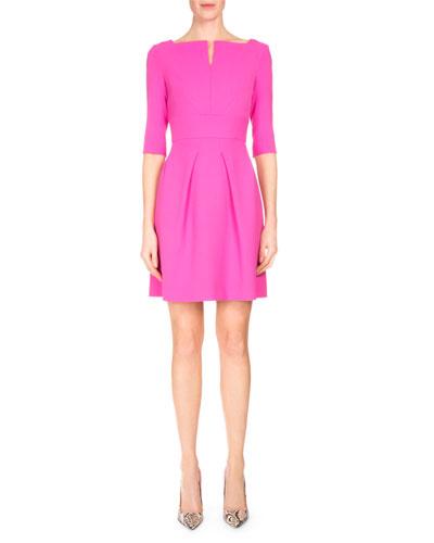 Stanpoe Split-Neck Party Dress, Candy Pink