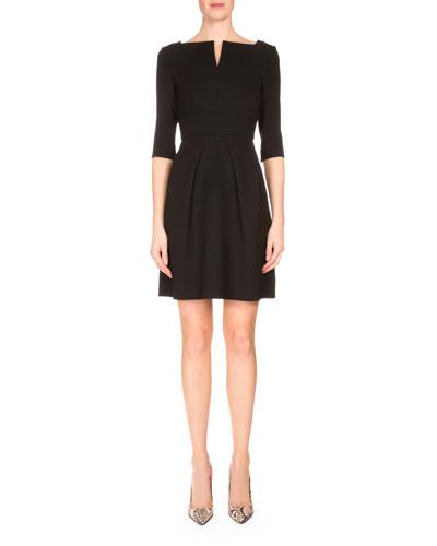 Stanhope Split-Neck Party Dress, Black