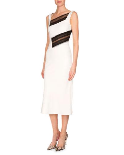 Clarival Asymmetric Lace-Inset Dress, White/Black
