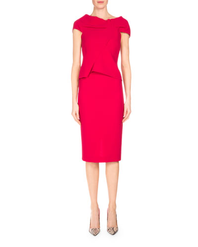 Balvern Pleated-Bodice Sheath Dress, Raspberry